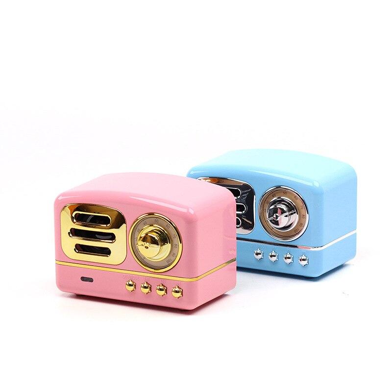 Altavoz Bluetooth portátil Retro Mini altavoz inalámbrico Portátil con Bluetooth Radio USB/TF tarjeta reproductor de música HIFI Subwoofer altavoz