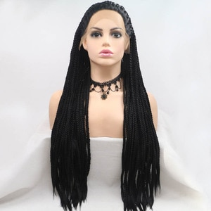 Black Long Braided Box Braids Lace Frontal Wigs Heat Resistant Fiber Hair Cosplay Daily Wear Synthetic Lace Front Wig For Women