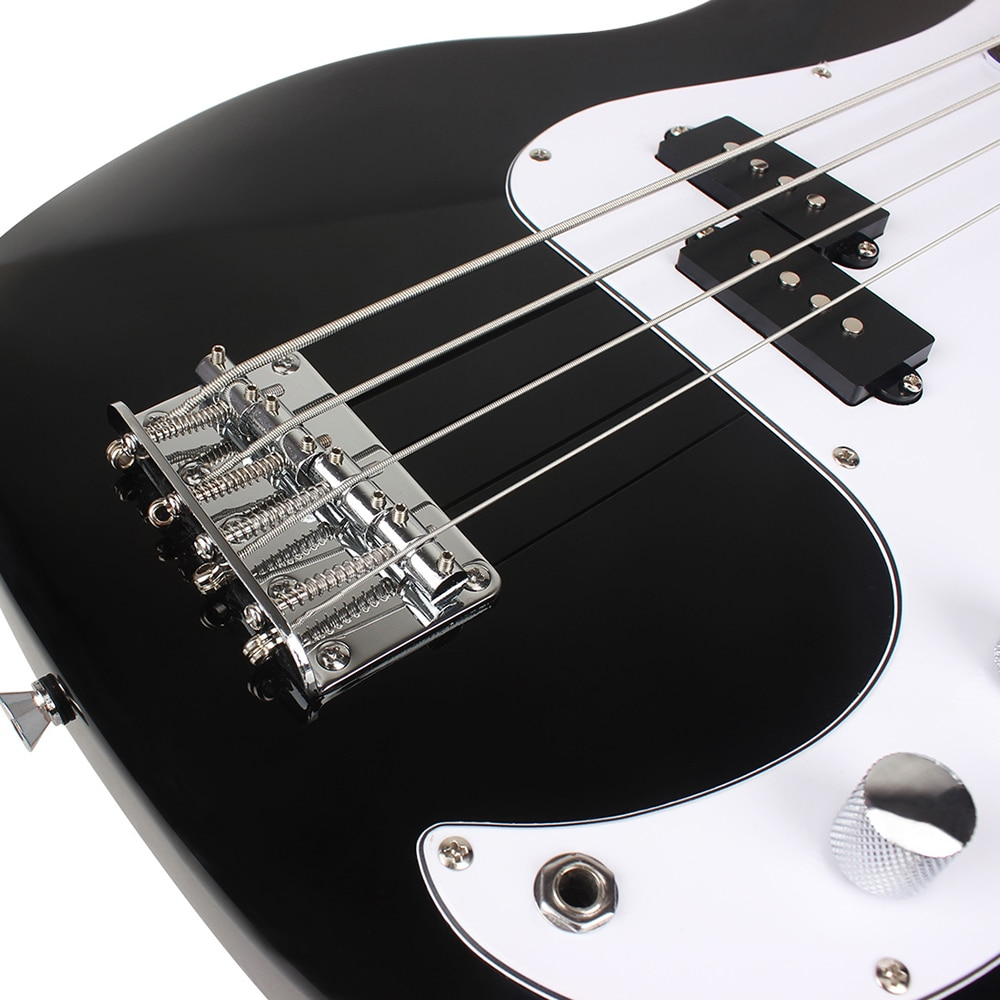 20 Frets 4 String Electric Bass Guitar Black Basswood Bass Guitar Stringed Musical Instrument With Connection Cable Wrenches enlarge