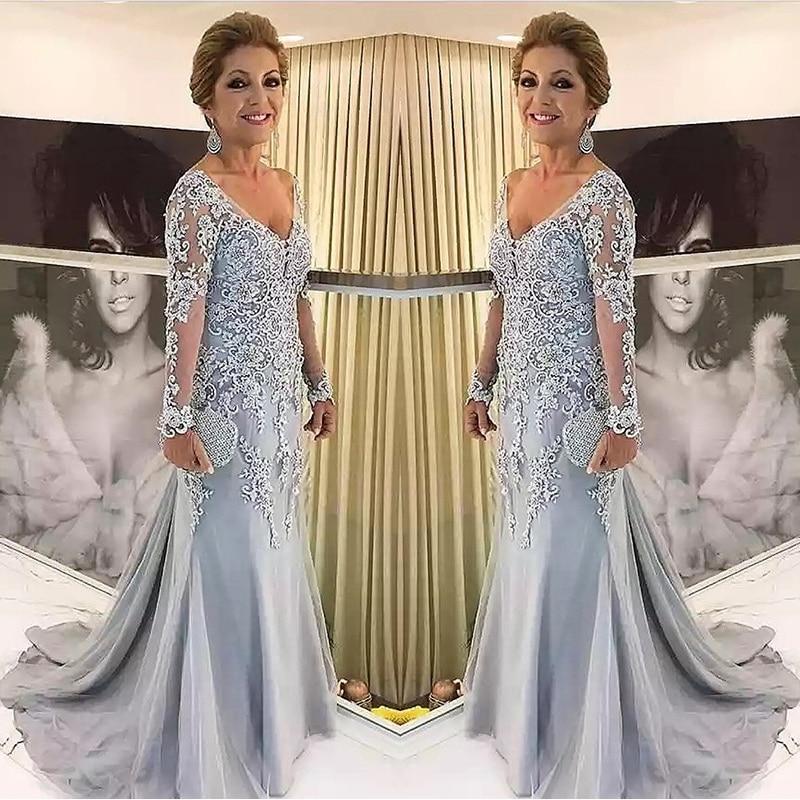 ملابس أم العروس الفضية الأنيقة بأكمام طويلة 2020 ، فستان سهرة جديد بفتحة رقبة على شكل V ، لحفلات الزفاف
