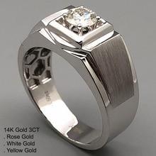 14K الذهب الأبيض 3 قيراط مويسانيتي خاتم الماس الرجال الجولة الكلاسيكية العصرية الزفاف حفلة خطوبة خاتم للذكرى 3 Ct D اللون