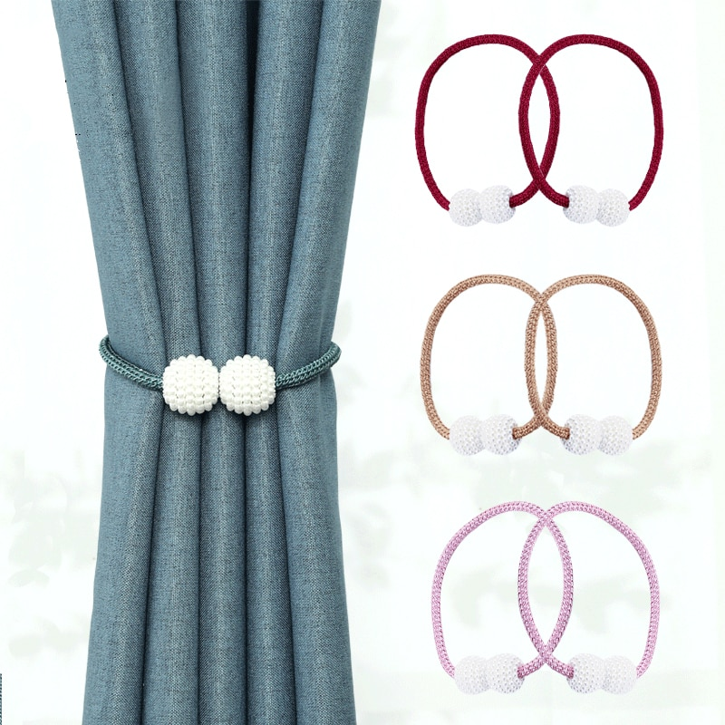 Thick Rope Pearl Magnetic Buckle Simple Curtain Magnet Buckle, Magnetic Buckle Binding With Curtain Buckle Magnet Binding Rope