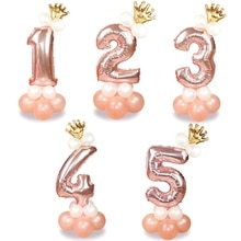 13Pcs/set Rose Gold Number Foil Balloons Happy Birthday Balloons Baby Shower Kids Birthday Party Decorations Number Balloons