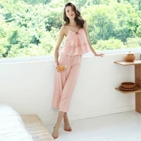 2021 cotton new summer night suit women casual solid sling pajamas set ladies v neck soft breathable pijamas female home service