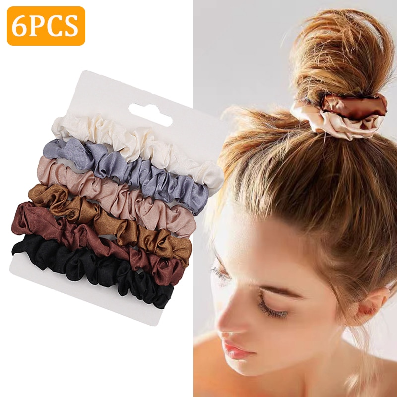 6PCS Woman Fashion Scrunchies Satin Silk Hair Ties Rope Girls Ponytail Holders Rubber Band Elastic Hairband Hair Accessories