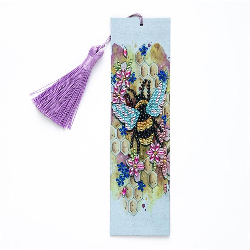 5D алмазная картина пчела Закладка Алмазная вышивка ремесло книжка с кисточкой отметки для книг рождественские подарки