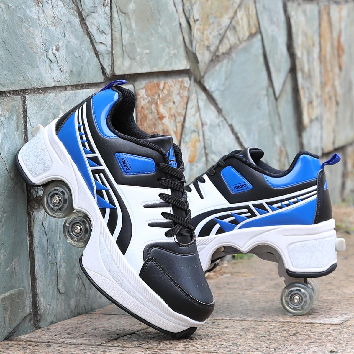 Hot Walk Roller s Deform Wheel Skates for Adult Men Women Unisex Child Runaway Shoes Casual Sneakers Skate Skates Four Wheeled