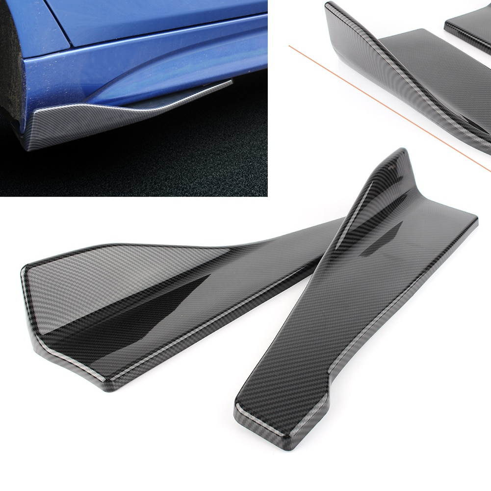 Falda trasera/lateral para coche de 35cm, parachoques, deslizante/desgaste/Tira protectora de raspado con apariencia de fibra de carbono