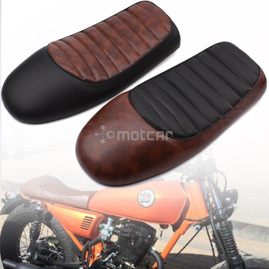 Siège en cuir à grille pour Suzuki KAWASAKI Honda   Noir + marron, moto, personnalisé café Racer, siège de selle