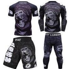 MMA vêtements ensemble de boxe Compression Jersey pantalon 3D impression Rashguard Bjj Kickboxing T-shirts pantalon Muay Thai Shorts MMA combat