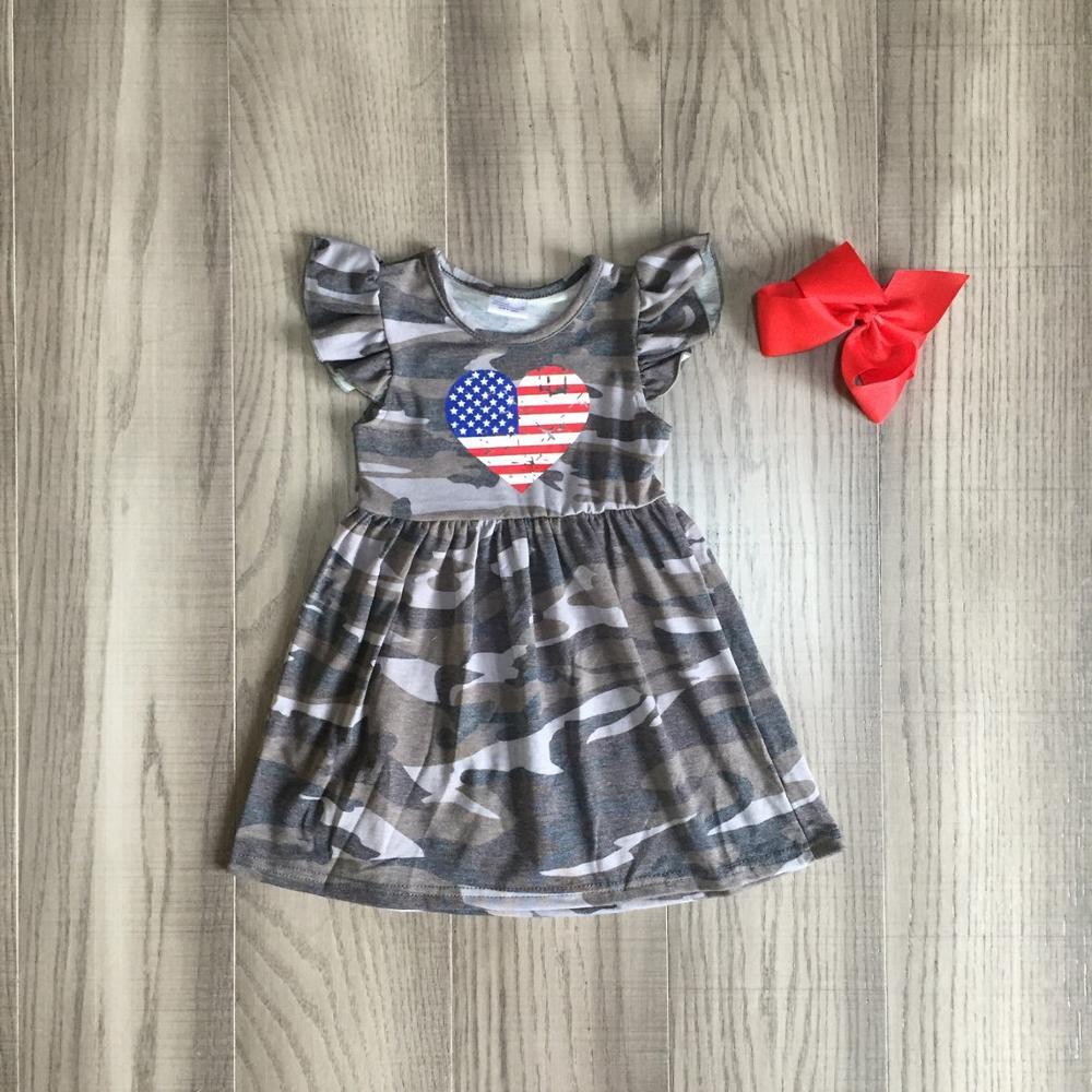 July 4th платье летняя детская одежда для девочек камуфляжное Хлопковое платье с оборками в форме сердца эксклюзивная детская одежда молочный шелк с бантом