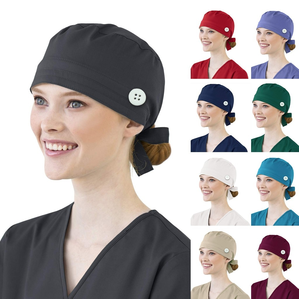 Wholesale mascarillas Cotton Bandage Adjustable Scrub Cap Sweatband Bouffant Hat Men face mascarillas and reusable foulard femme
