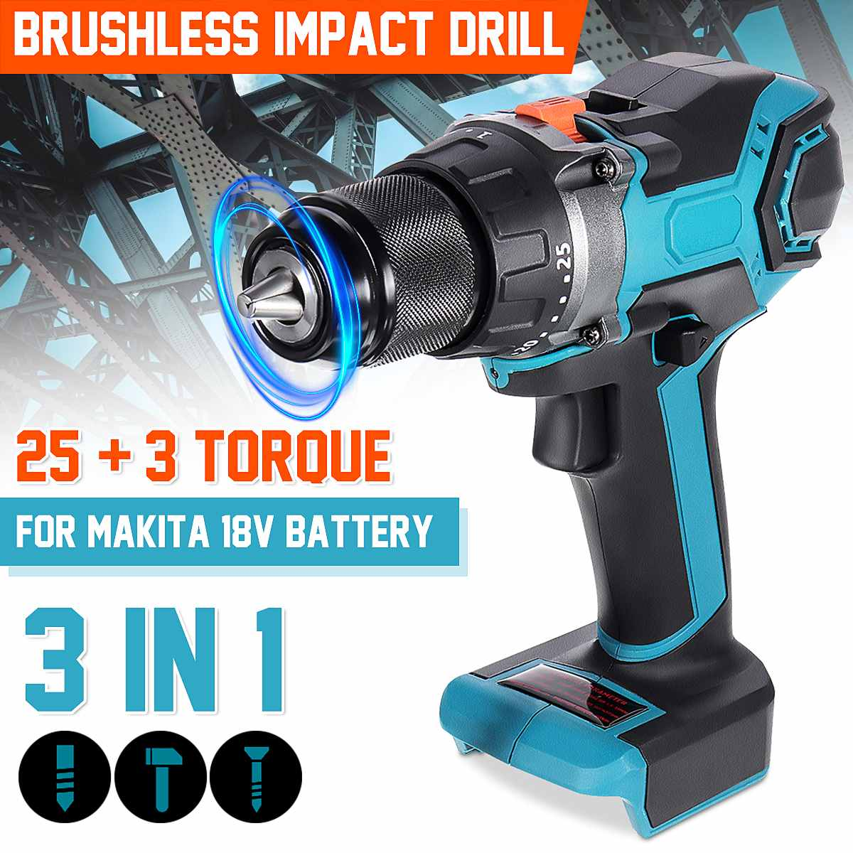 18V 13mm 450Nm 3 in 1 Brushless Electric Drill Screwdriver 20+3 Torque Cordless Impact Drill DIY Power Tools for Makita Battery 3 in 1 13mm brushless electric hammer drill electric screwdriver 20 3 torque cordless impact drill for makita 18v battery