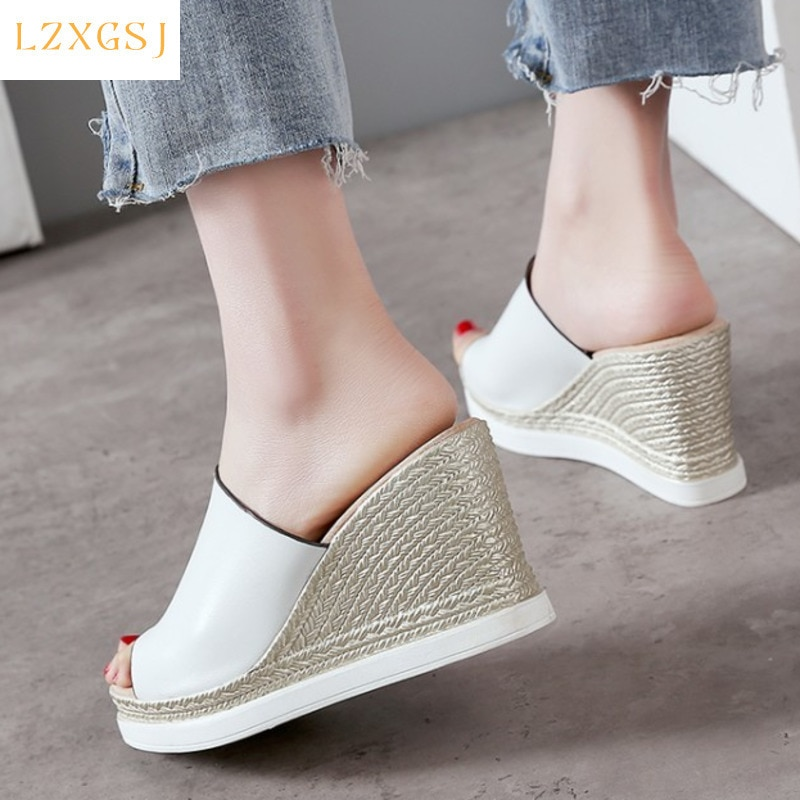 2021 Summer Wedges Heel Slippers Fashion Women Platform Shoes Casual Weaving Peep Toe Outside Light Slides Female Plus Size 43
