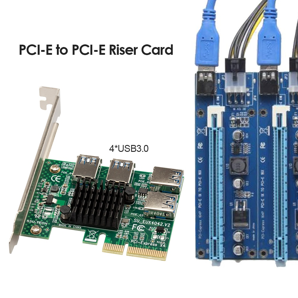 مهايئ بطاقة الكمبيوتر وصلات PCI-E إلى مهايئ PCI-E موسع 1 إلى 4 فتحة PCI-Express USB 3.0 مضاعف الناهض