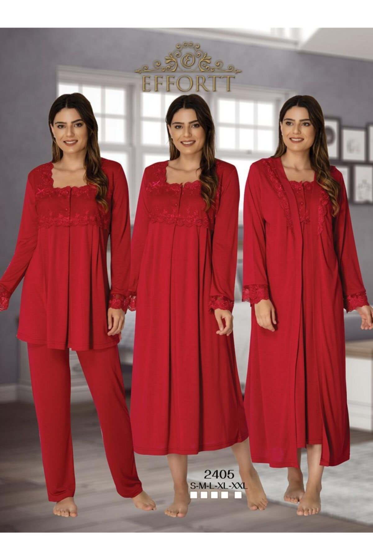 Women's Red Maternity Puerperal Nightgown Dressing Gown Pajamas Set 4'lü Set enlarge