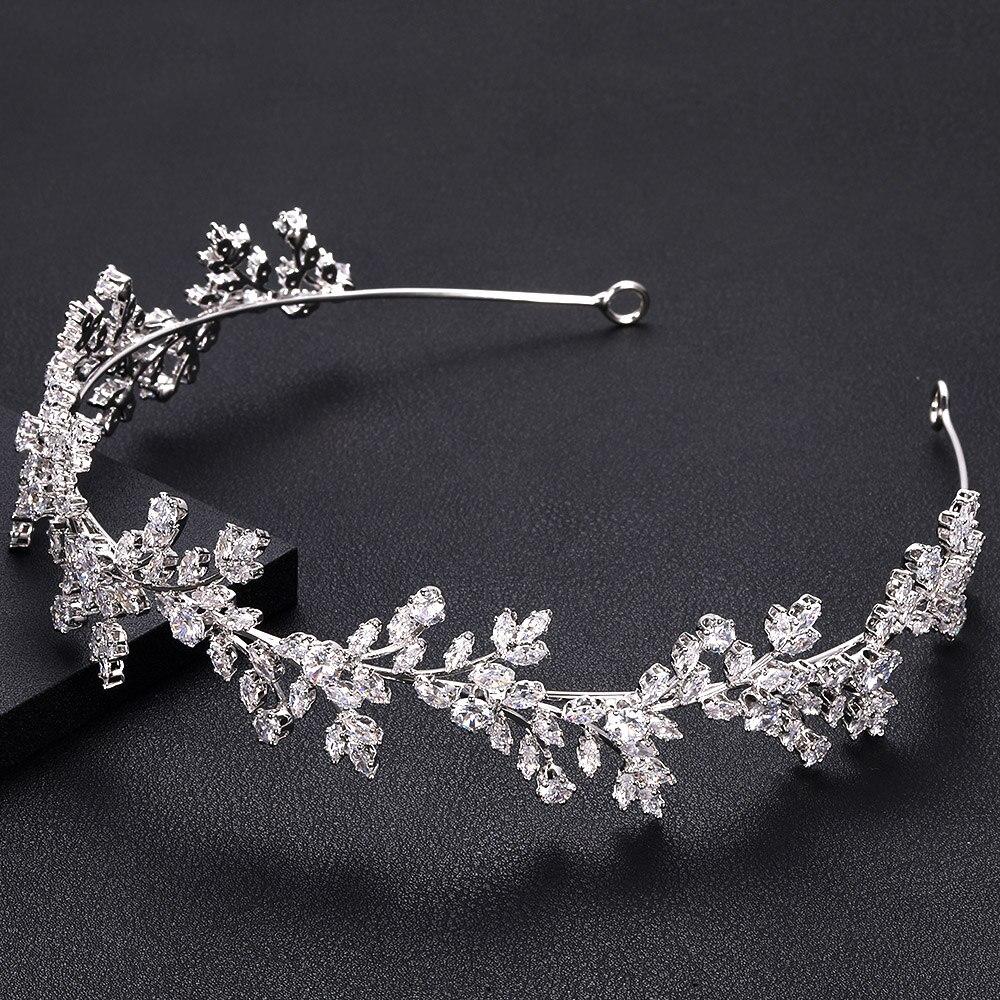 Diadema jankelly de moda para mujer con circonita cúbica, accesorios para el cabello de novia con tocado, Tiaras