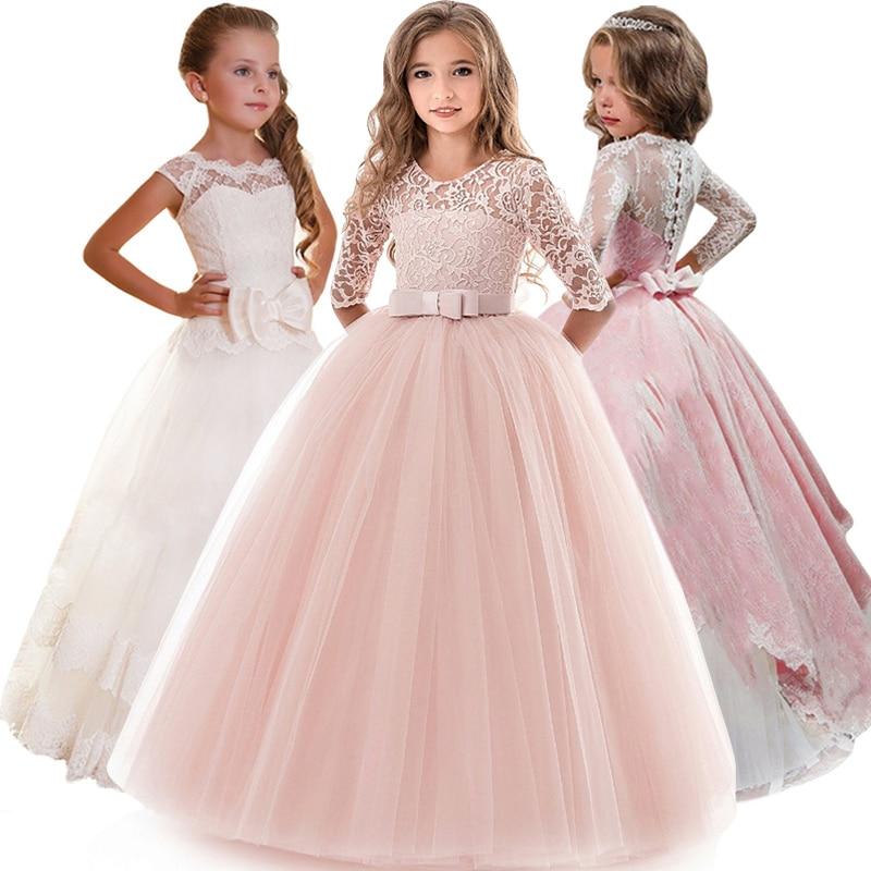Vestidos de flores para dama de honor de niños para fiesta y vestido de boda Vestido de desfile de niños niñas vestido de princesa ropa de niño niña