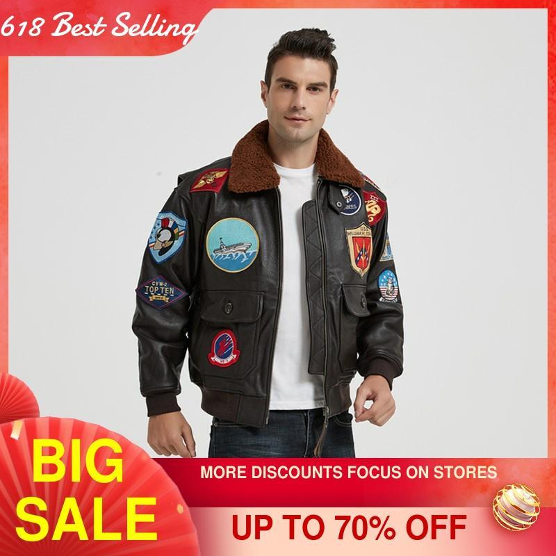 2021 Dark Brown TOP GUN Pilot Leather Jacket Men Wool Collar Genuine Thick Natural Cowhide Winter Military Style Aviation Coat