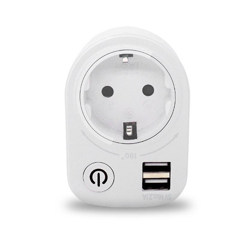 Adaptador de tomada inteligente usb duplo, 5v 2.1a, plugue adaptador de carregador usb inteligente, 180 graus, rotação, carregamento, interruptor de energia, tomada, multifunção, casa