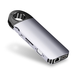 PD 10 em 1 Estação de Carregamento Doca Leitor De Cartão USB de Alta Velocidade Hub C Audio Mic Jack 4K HDMI 3.0 Portas Adaptador Para PC Laptop VGA