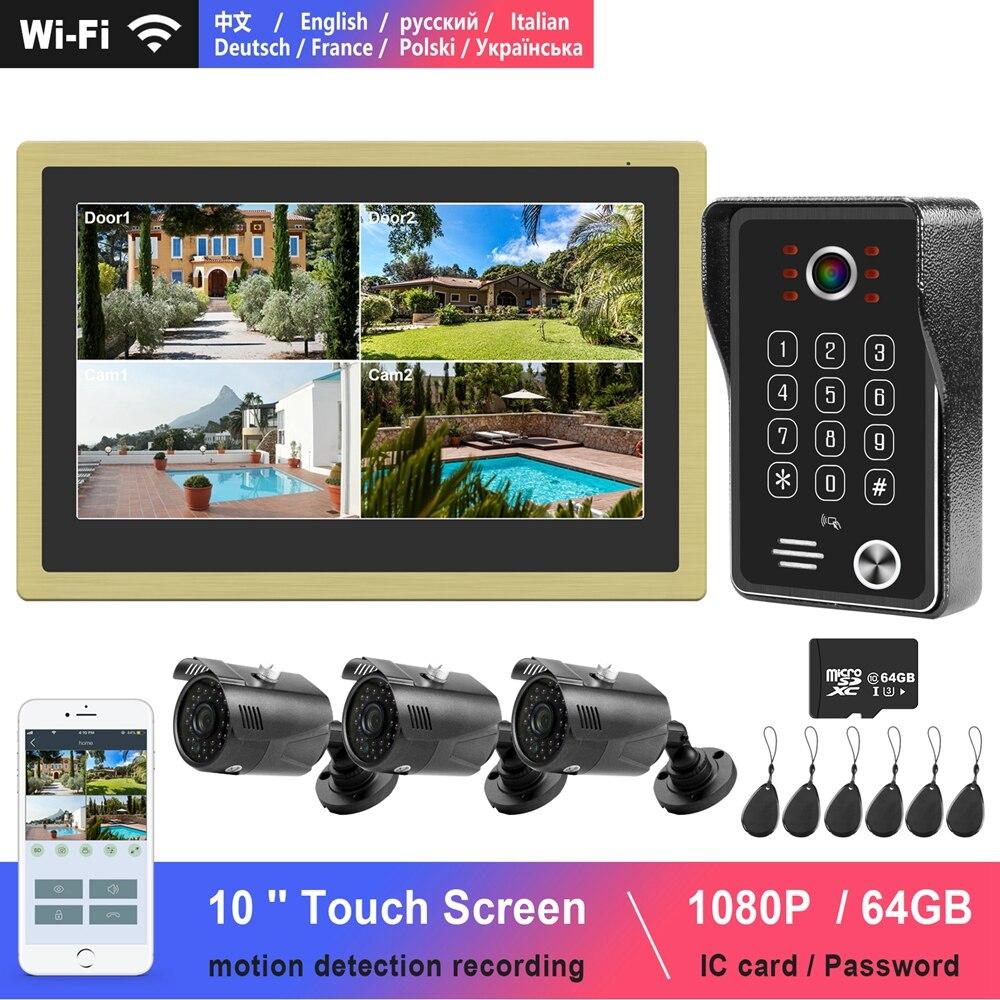 WiFi Video Intercom 10 Inch Touch Screen Monitor 1080P Keypad Call Panel RFID Doorbell Home Intercom Surveillance Camera System