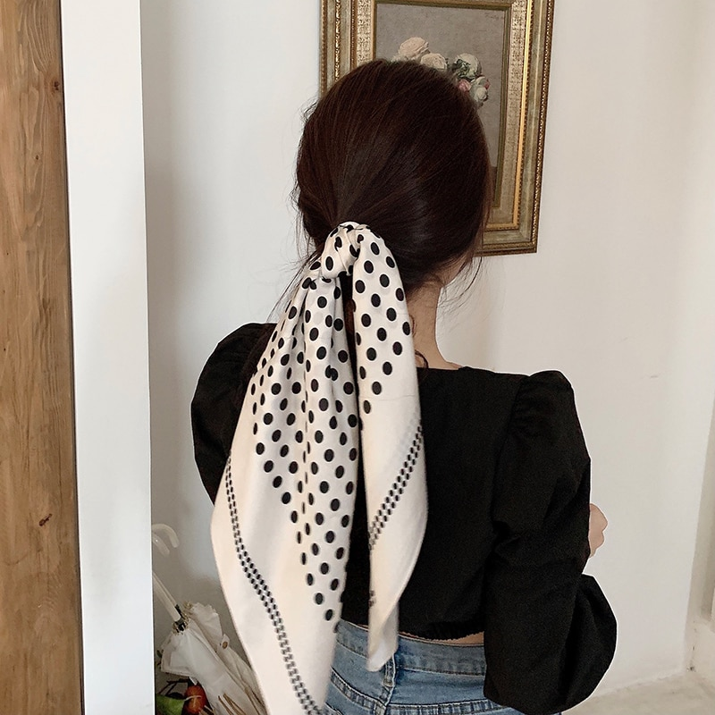 Small Silk Scarf Women's Spring and Autumn All-Match Hair Band Suit Long Square Scarf Autumn and Win