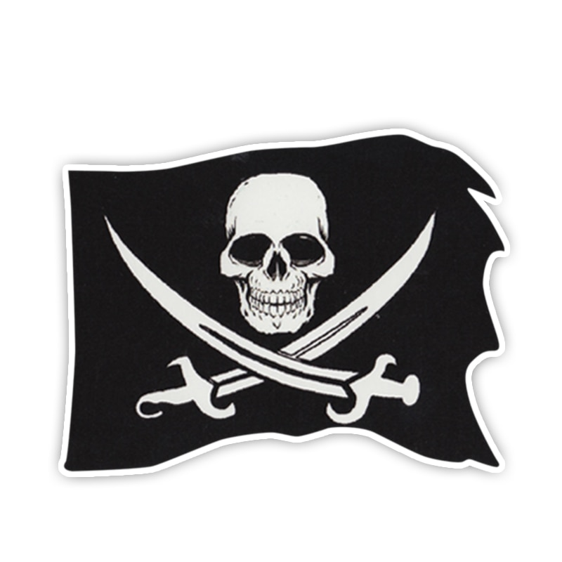 Fuzhen Boutique Decals Exterior Accessories Bumper Stickers PIRATE FLAG Skull and Crossbones Swords Funny Window Decal