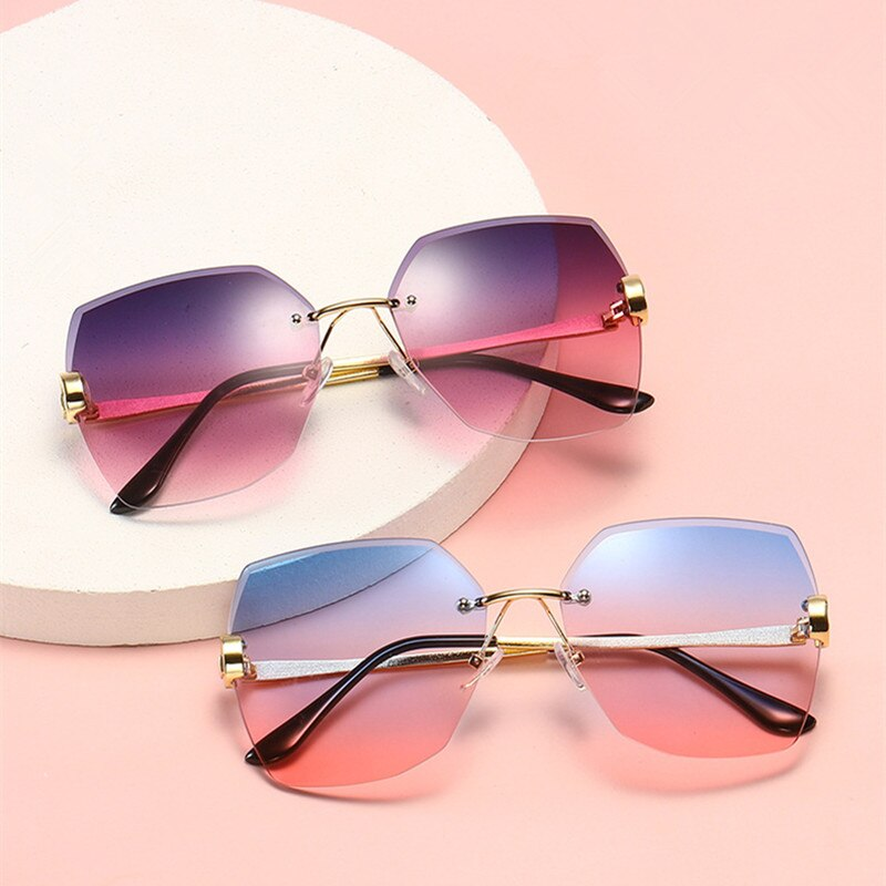 New Rimless Women's Sunglasses Ocean Water Cut Trimmed Lens Metal Temples Sun Glasses For Female Cla