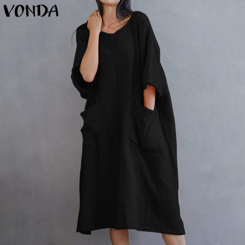 Vestido Vintage VONDA de talla grande 2020 primavera verano Mujer Vestido Casual de algodón bolsillos manga Vestido de verano femenino
