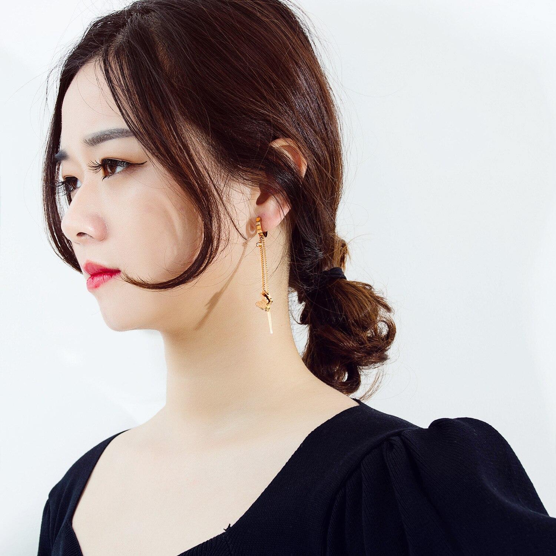 YMS European American Fashion Long Tassel Butterfly Earrings For Women 2021 Stainless Steel Rose Gold All-Match Women's Eardrop