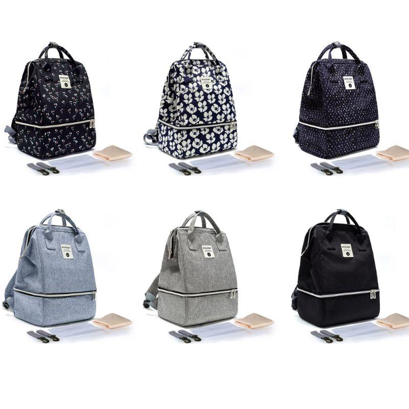 Bolsa de pañales Unisex multifunción, mochila de maternidad, gran capacidad, bolsillo aislado, capas dobles, mochila de Lactancia para cuidado de bebés