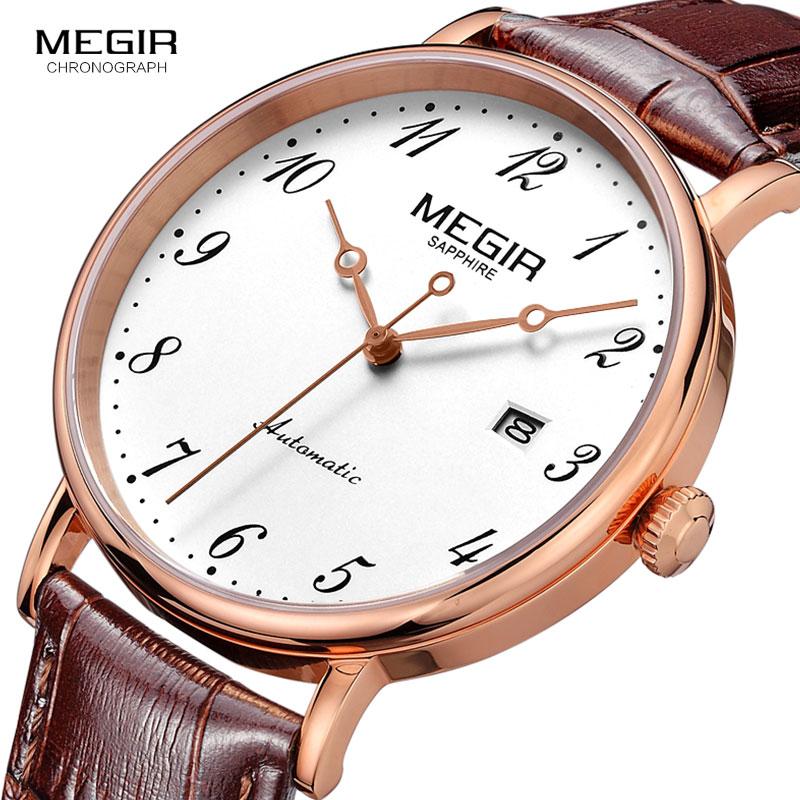 MEGIR-ساعة جلدية للرجال ، ميكانيكية ، توربيون ، أوتوماتيكية ، رياضية ، أعمال عادية ، ريترو