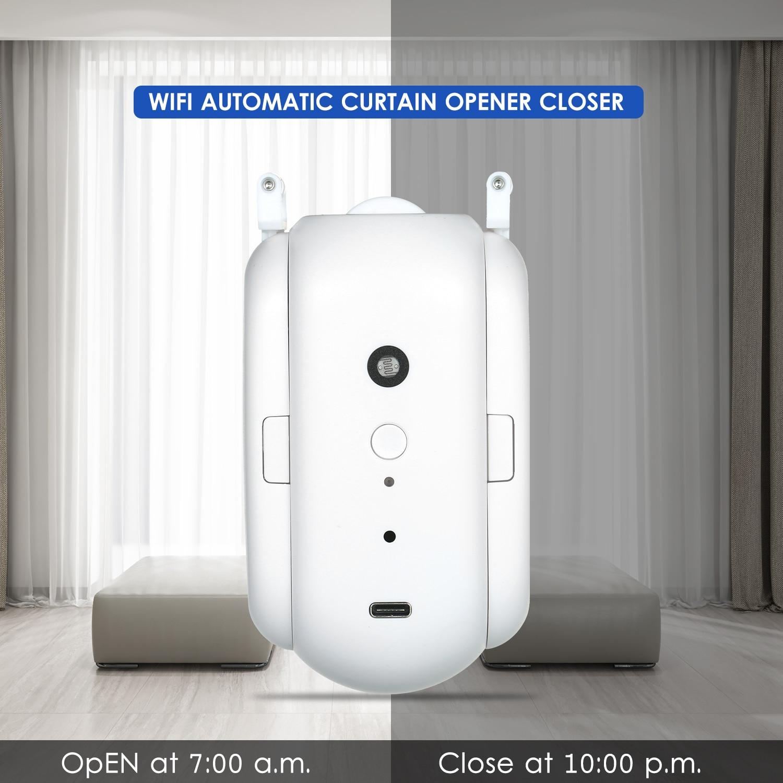 KKmoon WiFi التلقائي الستار فتاحة أقرب المحرك ل الستار المسار قضيب استبدال ل الأمازون أليكسا جوجل الذكية الستار المحرك