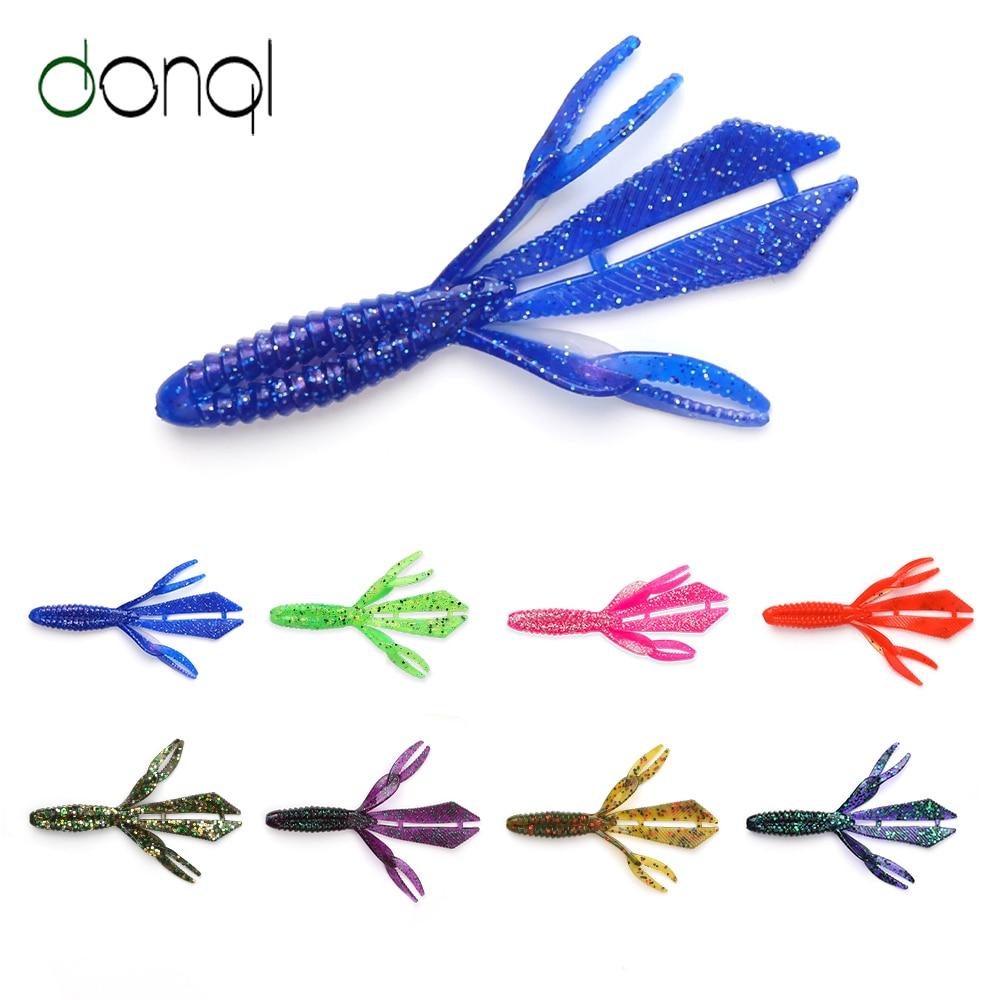 Donql 10 pçs conjunto de isca de pesca sem-fim 89mm 3.3g lantejoulas suave lure wobblers nadar artificial shad isca de silicone