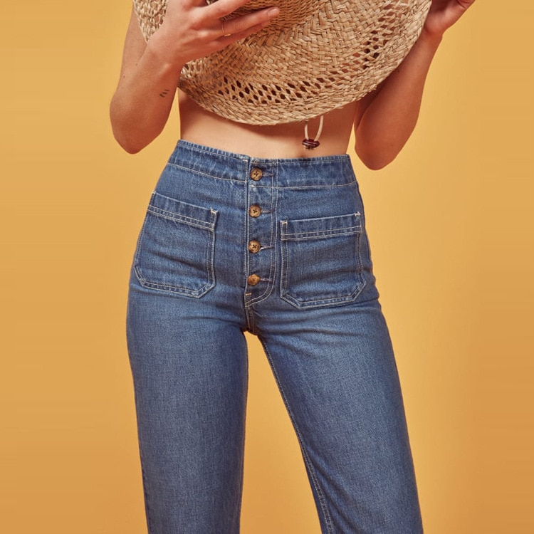 ref fall 2020 new SLIM STRAIGHT high waist wash jeans