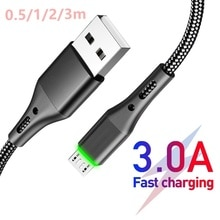 3A Micro USB Cables Fast Charging Datas 0.5-3m For Xiaomi Redmi 4X Huawei Accessories For Mobile Pho