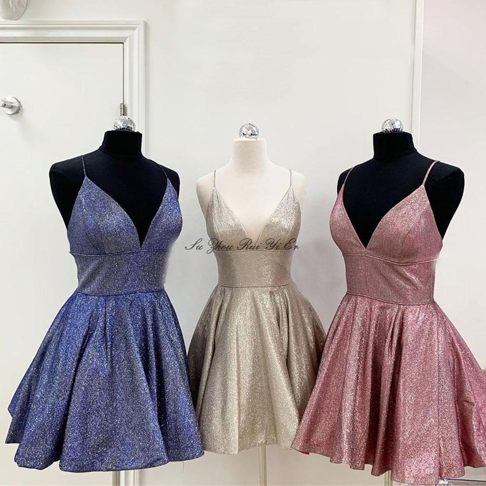 Sparkly V-neck Homecoming Dresses 2020 Short Graduation Dress Spaghetti Strap Mini Prom Gown Vestido De Formatura