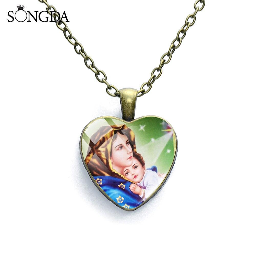 Collar de cúpula SONGDA Jesús Dios corazón Virgen María cristal colgante para Mujeres Hombres celestial padre cadena collar joyería religiosa