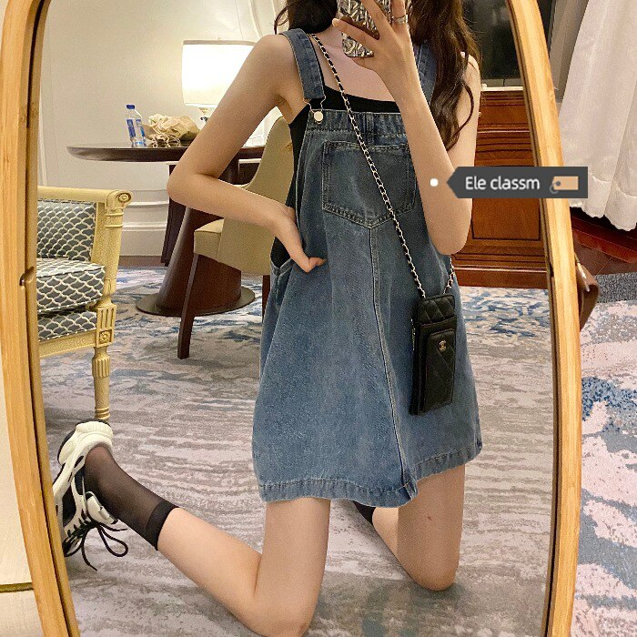 Denim Brace Dress for Women Summer 2021new Retro Hong Kong Style Chic Sweet Salt Dress Ins Style
