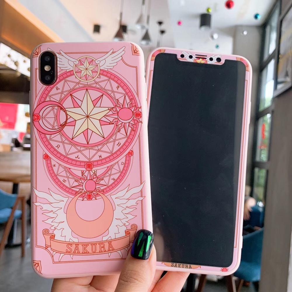 Розовый Сакура 360 Передний + задний Чехол для iPhone11 Xsmax XR чехол для телефона Чехол экран Закаленное стекло протектор 8plus 6s 7P XS 6S P Защита