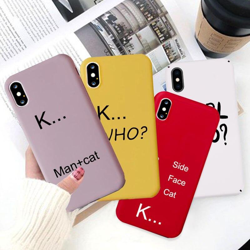 JAMULAR, carcasa sencilla con letras para iPhone 11 Pro XS MAX X XR 7 6 6s 8 Plus, funda trasera de silicona suave de Color caramelo, funda mate