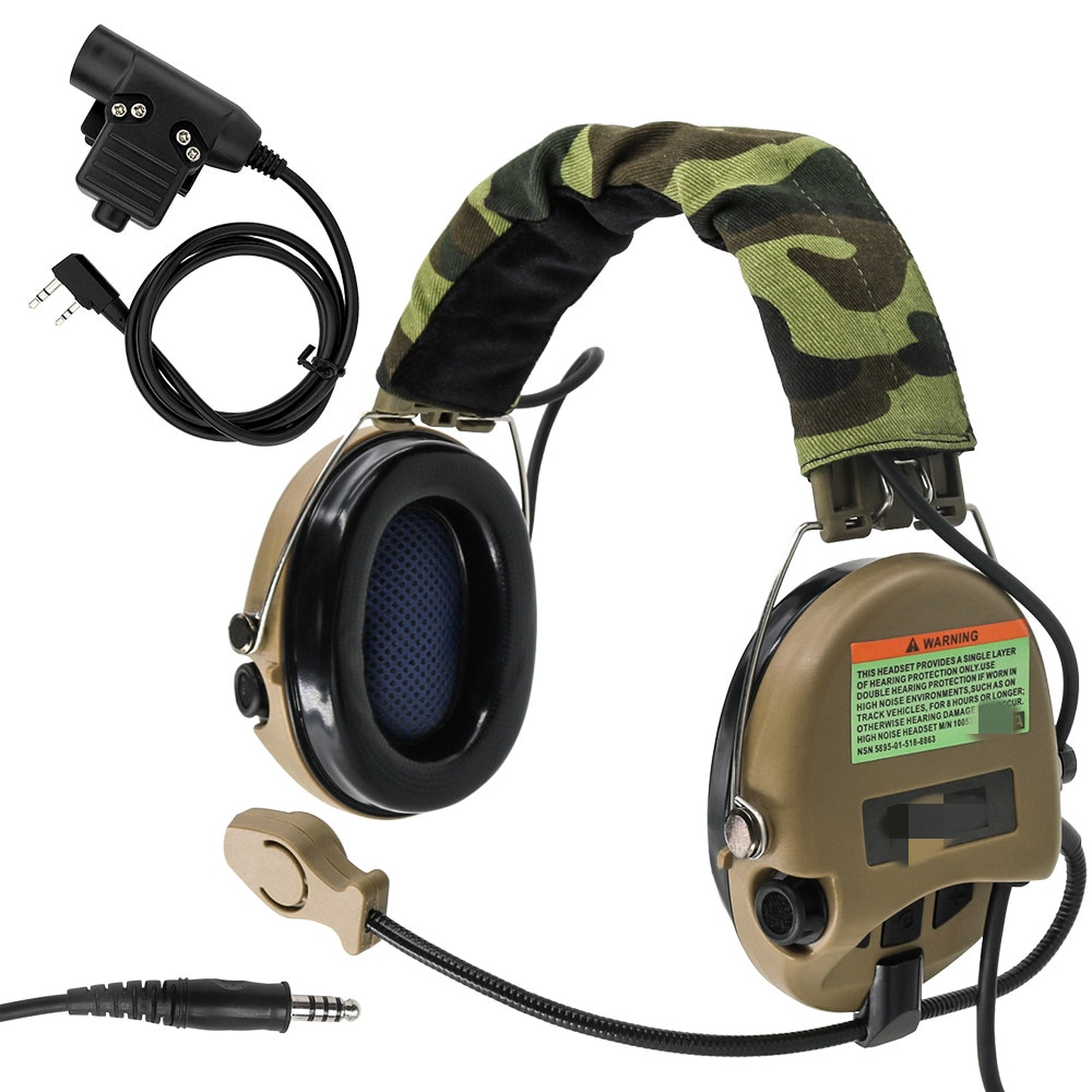 MSASORDIN Tactical Headset Anti-noise Airsoft Electronic Headphone Pickup Noise Reduction Hearing Protection Earmuffs  DE
