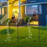led kettle solar light wrought iron watering can fairy string lamp waterproof yard art ornament garden decoration park lighting