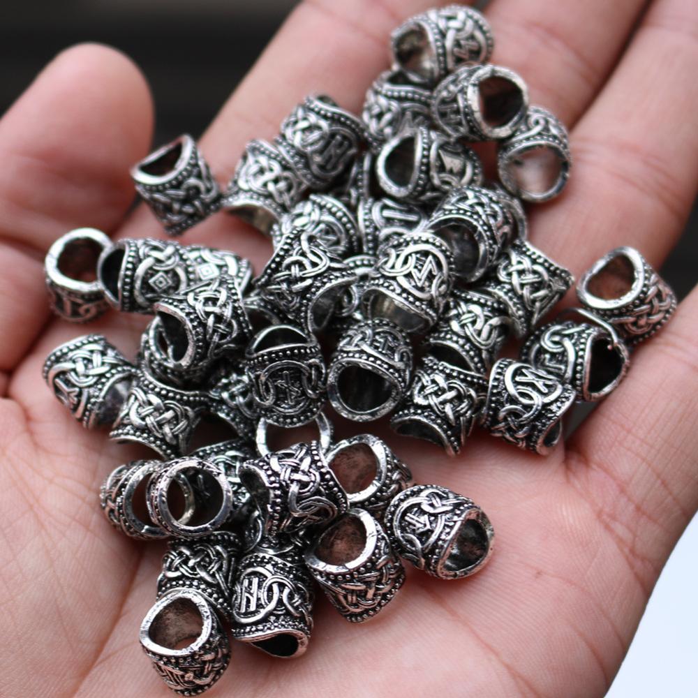 24pcsViking runas abalorios cuentas de pelo vikingo runas para hacer joyas anillo para DIY hallazgos pulseras COLLAR COLGANTE joyería