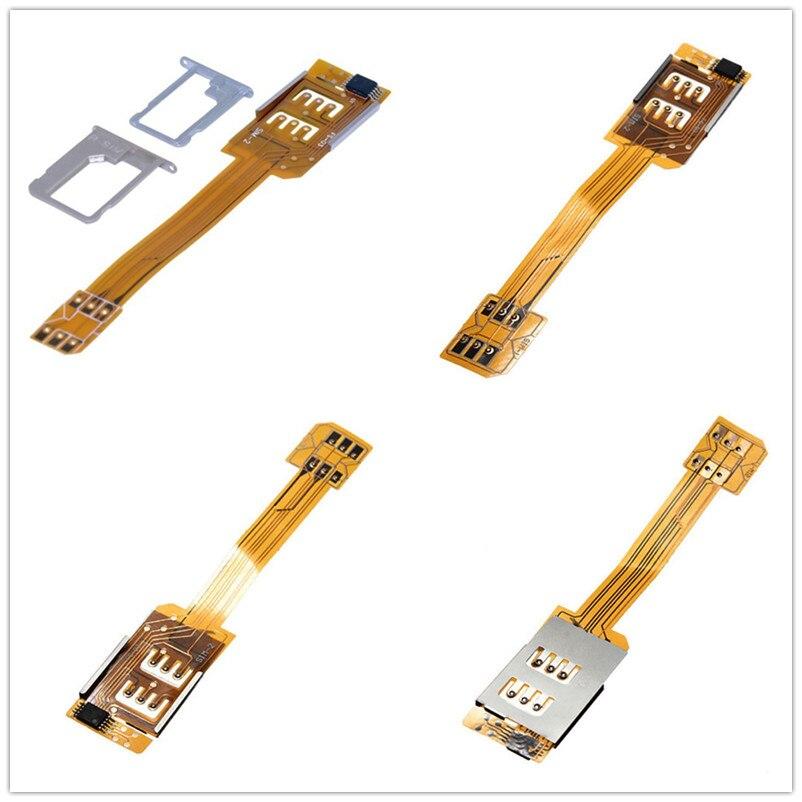 Conversor duplo do adaptador do cartão sim para o iphone 5 5S 5c portátil único à espera do cabo flexível fita smartphone sim cartão