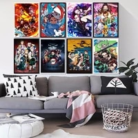 Affiche de tueur de demons  dessin anime japonais  peinture sur toile de qualite HD  decoration murale pour la maison  chambre a coucher  salon  chambre denfant  canape