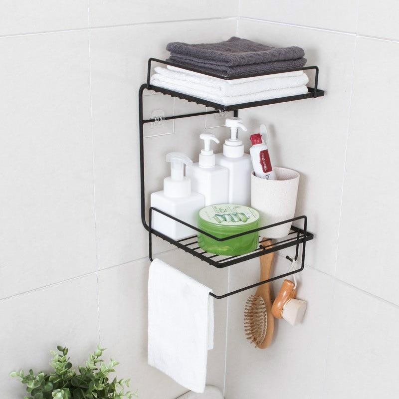 Bathroom Storage Rack Toiletries Towel Holder Wall-mounted Shelf Kitchen Household Basket