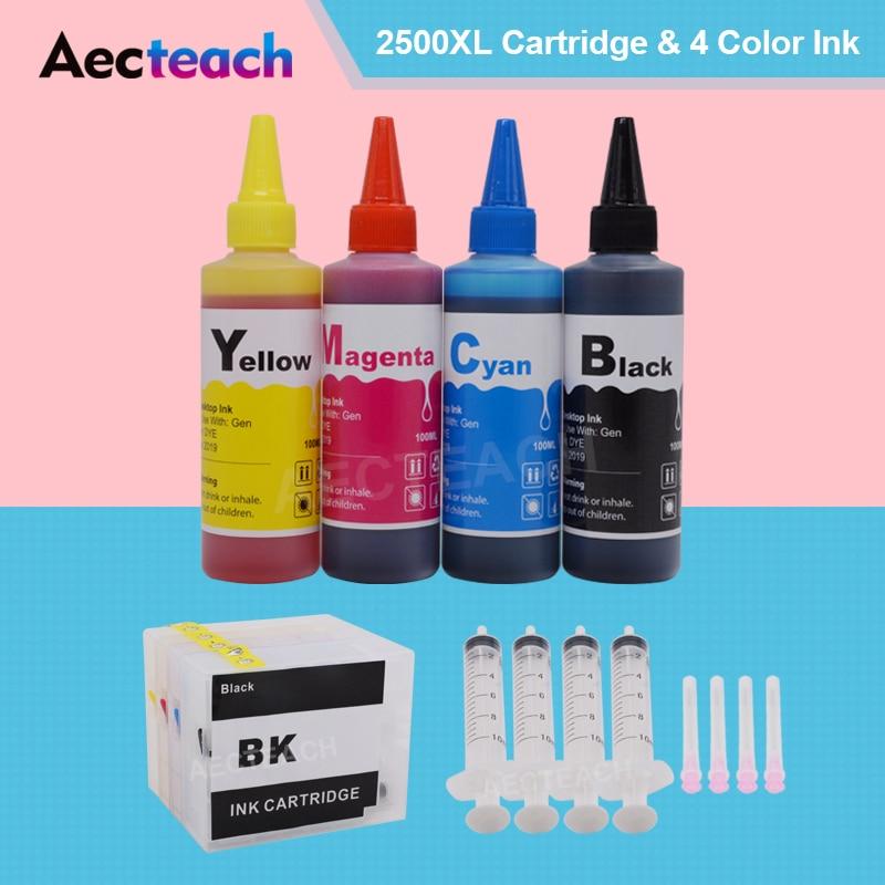 Aecteach Refill Ink Cartridge PGI2500 For Canon MAXIFY MB5150 MB5350 MB5450 Printer+ 400ml Refill Dye Ink For Canon PGI-2500XL