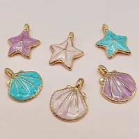 10 pcslot diy jewelry accessories oil drop alloy pendant colorful starfish shell earring material scrapbooking accessories